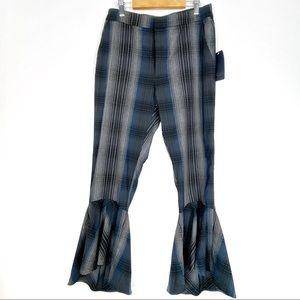 RACHEL ROY Aisha pants 6 plaid ruffled flare b514